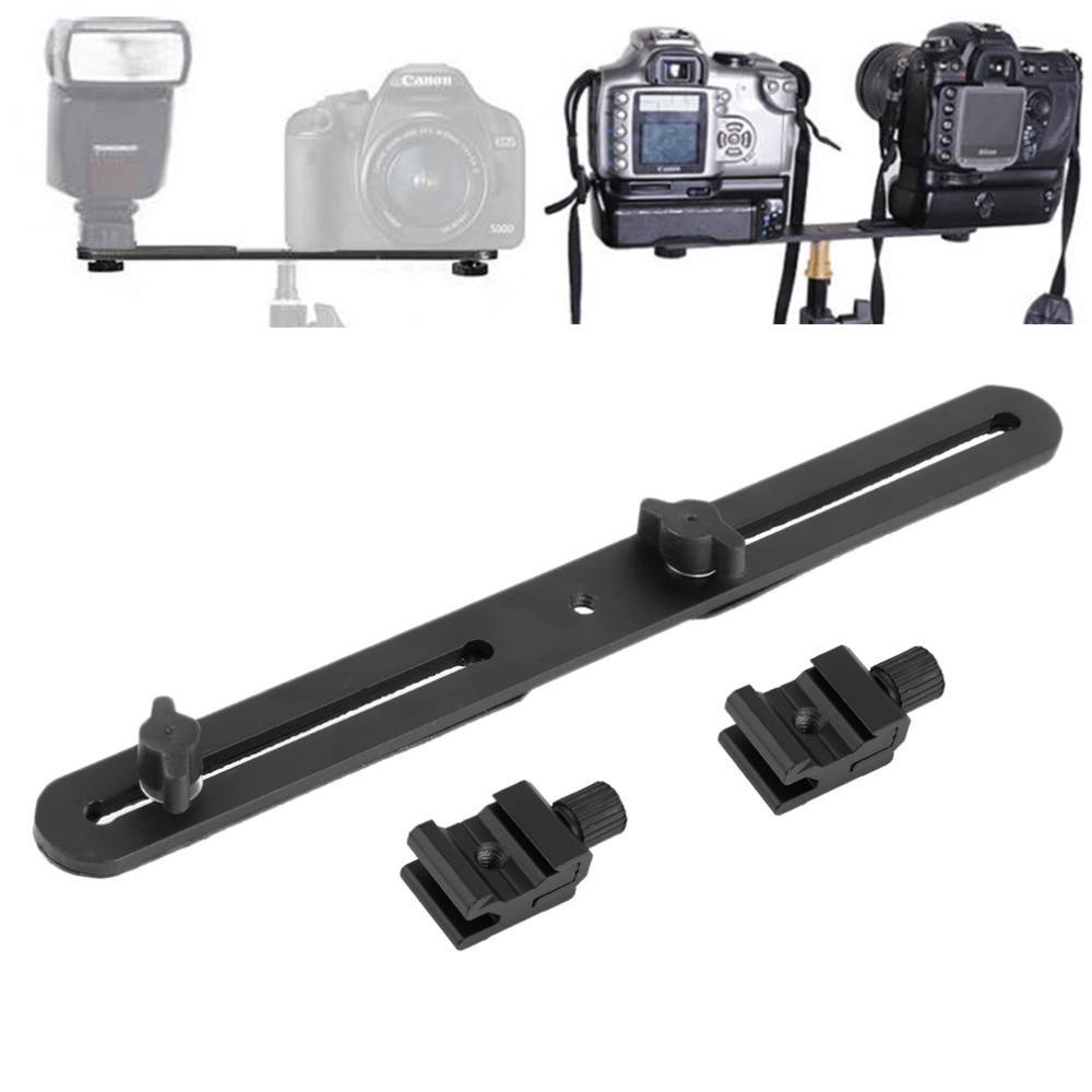Black Universal Double End Light Stand Holder Flash Bracket Mount Tripod with 2 Hot Shoe Adapter Screws For Digital SLR Camera NEW