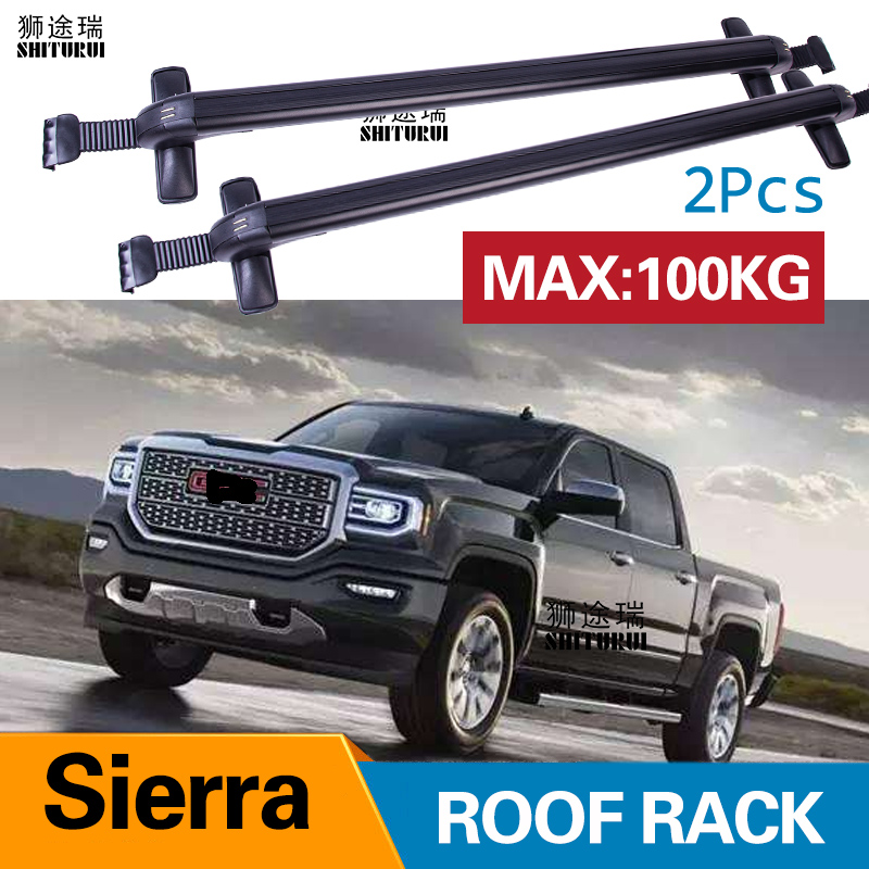 car luggage rack crossbar roof rack for gmc sierra 4 dr crew cab 2014 2017 2018 2019 load 100kg bar led roof rails