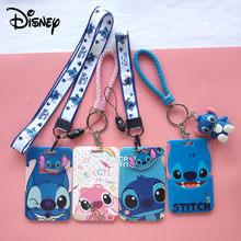 Disney Mickey Maus Stich Klare Karte Halter Mode Lanyard ID Abzeichen Fall Campus Bus Mahlzeit Karte Abdeckung Hängen Seil Tür tag Karte