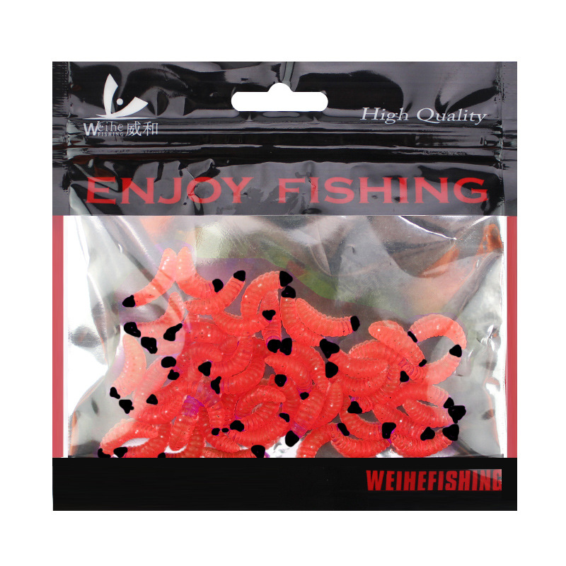 50pcs/ outdoor Winter fishing Bionic soft bait aphid 2cm/0.5g Artificial Manufacturing Soft bait sink Fishing accessories lure 4