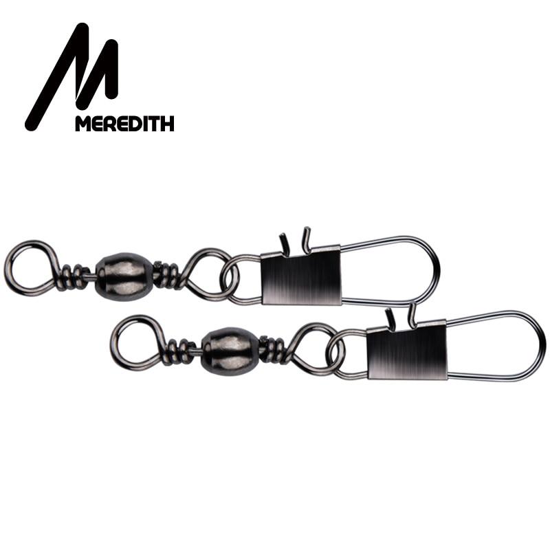 MEREDITH 50Pcs/Lot Swivels Fishing Line Connectors Rolling Swivel Fishing Bait Lure Connector Pin Fast Clip Lock