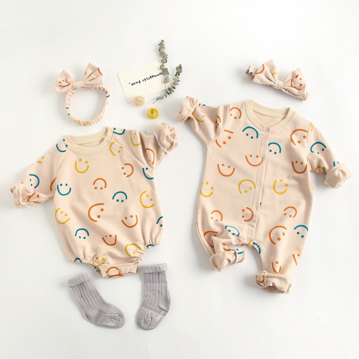 Spring Baby Girl Clothes Cotton Baby Jumpsuit Baby Romper Colorful Smiley Printing Long Sleeve Summer Baby Clothes With Headband