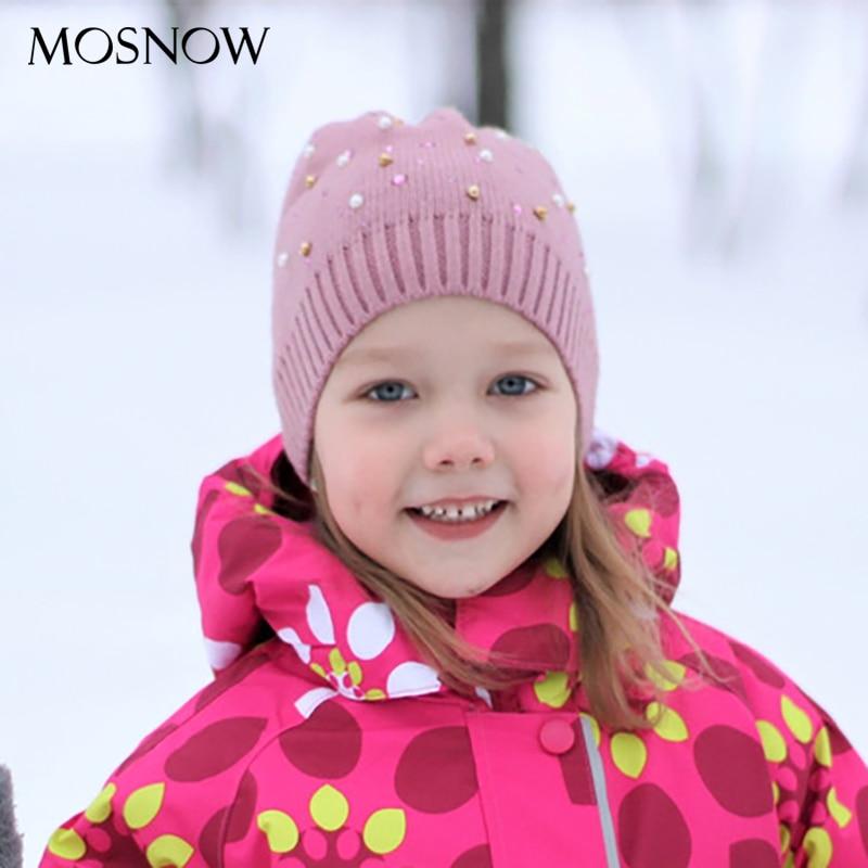 Knitting Hats Beanies Pearl Crochet-Cap Warm Girls Winter Baby-Boy Kids Child with Wool