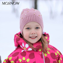 Child Crochet Cap Beanies Wool Knitting Hats With Pearl and Rhinestone Winter Warm Cute Kids Hats Baby Boy and Girls Beanies(China)