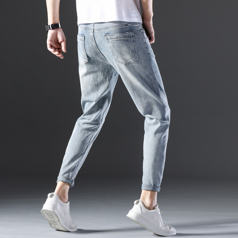 KSTUN Famous Brand Jeans Men White Blue Stretch Relaxed Tapered Pants Leisure Full Length Trousers Good Quality Jeans Male Homme 16