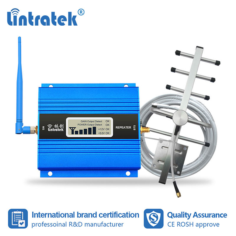 Lintratek GSM 900MHz Cell Phone Signal Booster Amplificateur GSM Mobile Cellular Repeater Amplifier Antenna LCD Display