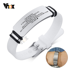 Vnox Casual Personalize Engrave Silicone Bracelets for Men Women Stainless Steel ID Tag Custom Sports Gifts Jewelry