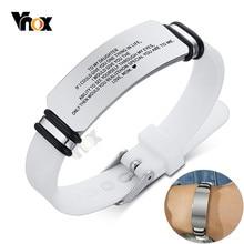 Vnox-Pulseras deportivas personalizadas para hombres y mujeres, brazaletes de silicona con etiqueta de identificación de acero inoxidable, regalos de joyería