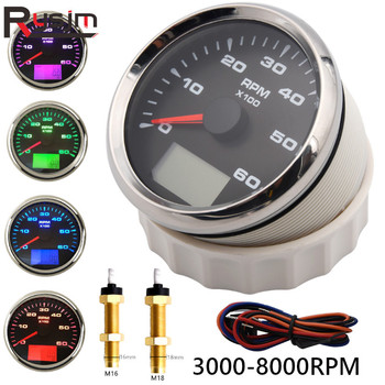 85mm Instrument Panel Tachometer Gauge 0-6000RPM,0-8000RPM Waterproof Marine Car Tacho Meter Speed Ratio with Hour meter 9-32V 1pc new type 0 8000rpm tachometer gauges modification 85mm lcd revolution meters 9 32v rev counters with hourmeter for auto boat