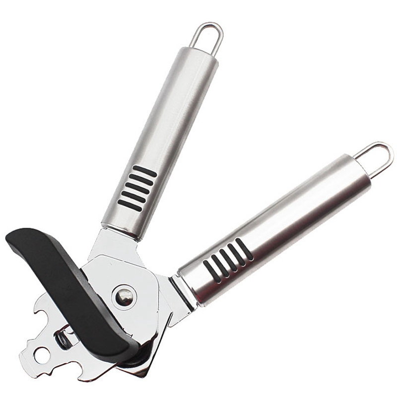 Can Opener Manual,Stainless Steel Can Openers Fit For Variety Cans,Built In Bottle Opener With Easy Turn Big Knob And Ergonomic