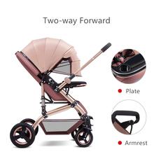 Luxury Baby Stroller 3 in 1 Adjustable Portable High Landscape Reversible Stroller Hot Mom Pink Stroller Travel Pram Pushchair