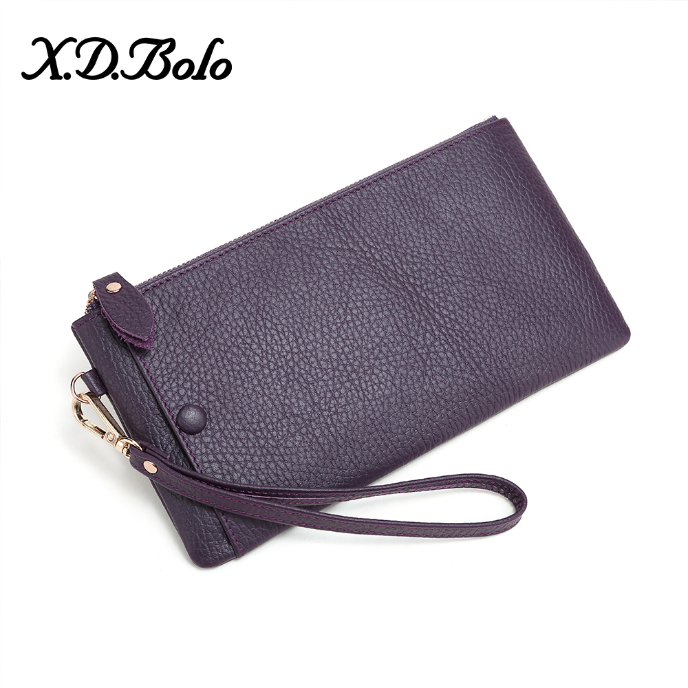 X.D.BOLO 2019 Fashion Womens Wallets Simple Zipper Purses High Quality Long Clutch Wallet Genuine Leather Money Bag Walte