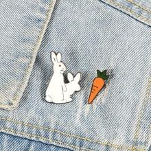 Creative White Rabbits Brooches Evil Animal Bunny Carrot Enamel Metal Pins For Women Coat Shirt Bag Jackets Collar Lapel Badge