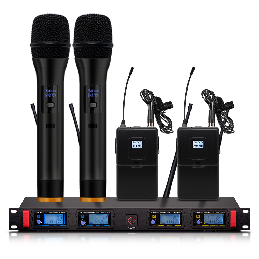 4-channel Wireless Microphone System UHF Karaoke System Wireless 2 Handheld 2 Lava Clip Wireless Microphone