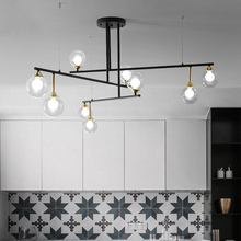 3/6/9 Lights Modern Vintage Glass Ball Chandeliers Lamp G9 Bulb Clear Sconces LED Pendant Hanging Light For Living Room