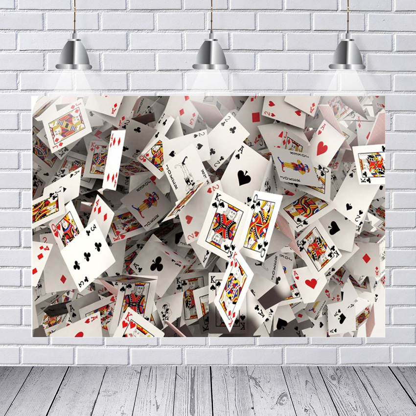 Poker Gambling Casino Playing Card Poster Painting Photography Photographic Backgrounds Party Backdrops for Photo Studio(China)