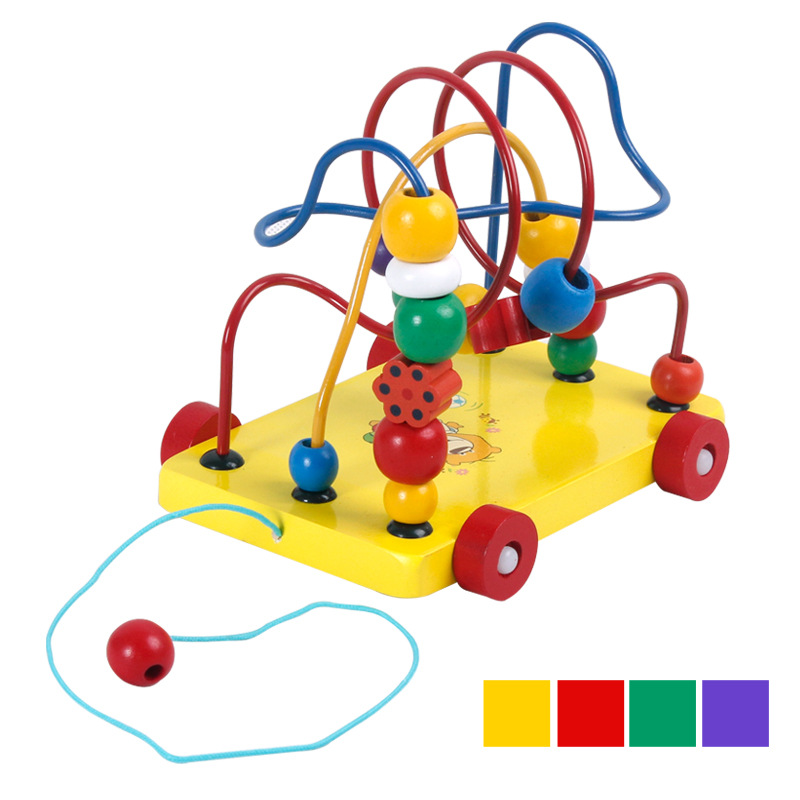 Four-Wooden New Style Trailer Bead-stringing Toy Children Bead Toy Mixed Wholesale