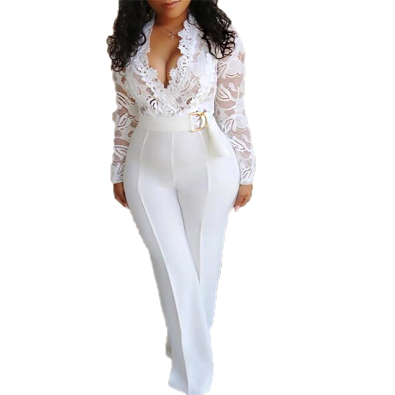 2019 Summer Women Elegant White Sexy V-Neck Slim Fit Outfit Patchwork Crochet Plunge Eyelash Lace Bodice Insert Jumpsuit Overall