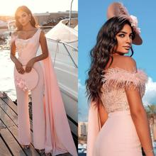 Party-Gowns Evening-Dresses Sleeveless Sweetheart Floor-Length with Cape Jumpsuit Beaded-Feathers