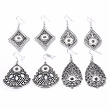 New 12mm Snap Earrings Vintage Water Drop Earrigs Ethnic Hollow out Mini Button Earrings Crystal Rhinestone for women