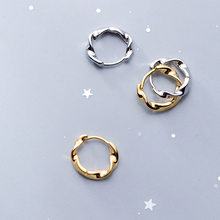 Fashion 925 Sterling Silver Round Circle Ear Ring Earings Gold Color Small Wave Huggie Hoops Earrings for Women Brincos Gifts(China)