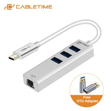 CABLETIME 2020 USB C Ethernet HUB tipi C USB 3.0 RJ45 ağ kartı 4 in 1 HUB Laptop için macbook Matebook 13 X C046(China)
