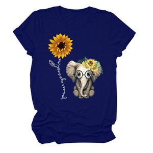 2020 Футболка с принтом слона и подсолнуха, Женская Повседневная футболка с коротким рукавом и круглым вырезом, топы для женщин, милые футболк...
