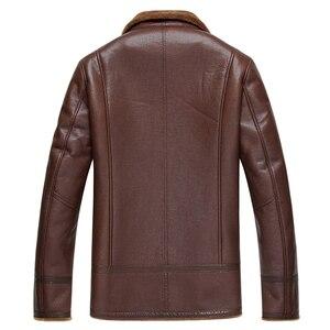 Image 2 - Gours החורף אמיתי עור מעילי Mens בגדי אופנה חום אמיתי כבש ארוך טייס מעיל עם צמר בטנה חם GSJF1850