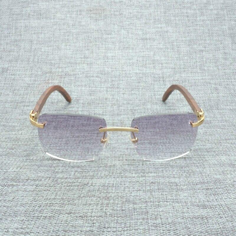 Natural Wood Sunglasses Men Black White Buffalo Horn Eyewear Women Accessories Oculos Shade Rimless Eyeglasses for