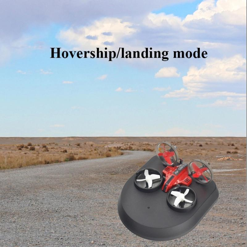 Kids DIY Fixed Wing 3 In 1 RC Glider Model Toy Electric 2.4G Land Sky Mode RC Drone Hovercraft