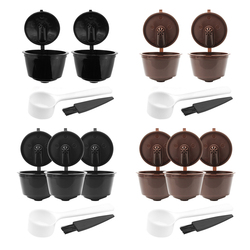 2/3pcs Reusable Coffee Capsule Filter Cup for Dolce Gusto Home kitchen Refillable Caps Spoon Brush Filter Basket coffee filter