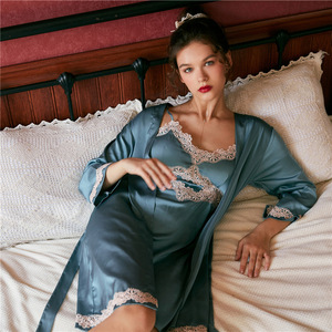 Image 3 - JULYS SONG 2020 Womens New Faux Silk 2 Piece Pajamas set  Ladies Lace Sexy Summer Spring Sling Nightgown Robe Home wear