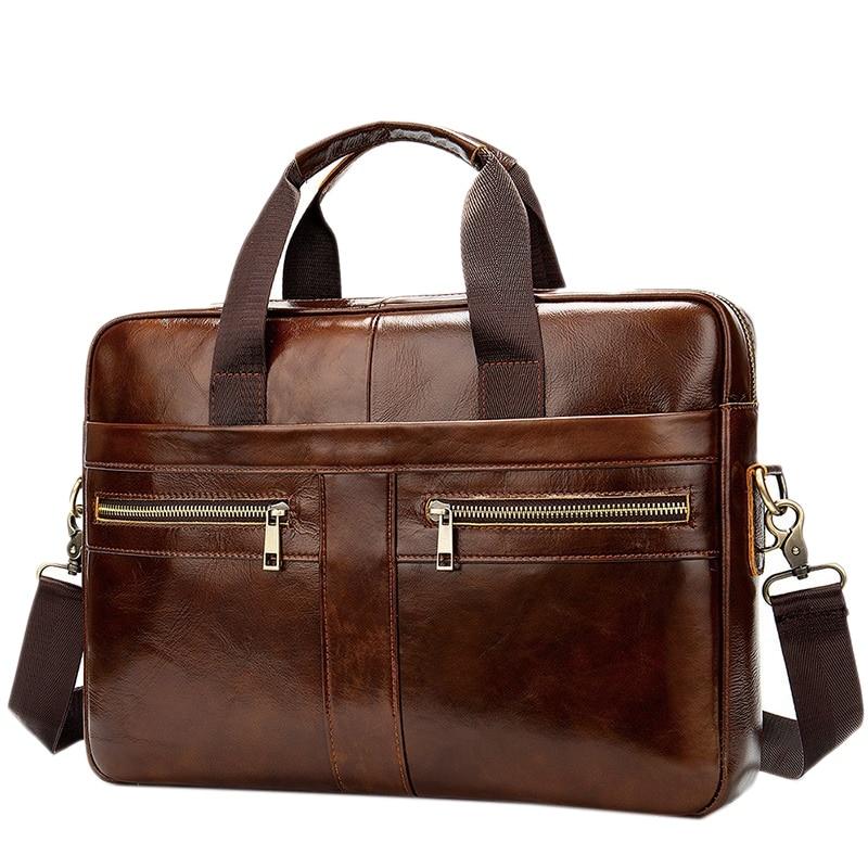 BEAU-Men's Genuine Leather Briefcase Male Man Laptop Bag Natural Leather For Men Messenger Bags Men's Briefcases