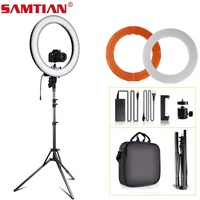 ring light 18 inch ring lamp with tripod dimmable bi color 3200K 5500K for studio photogrphy lighting YouTube makeup ringlight