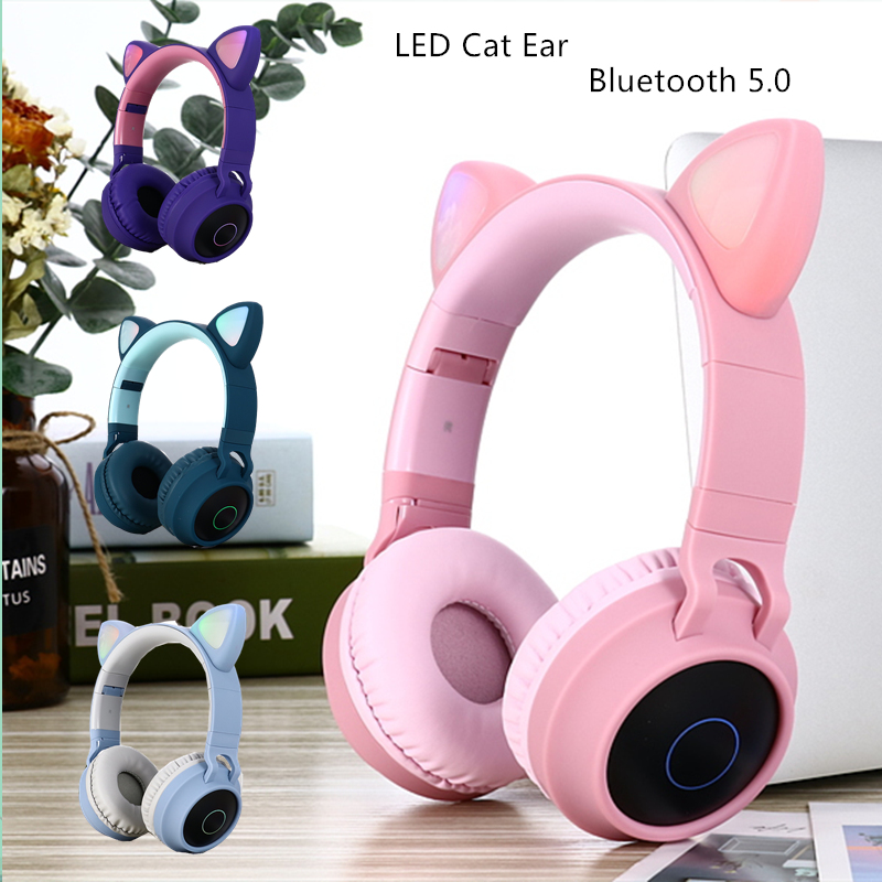 LED <font><b>Cat</b></font> Ear <font><b>Headphones</b></font> Noise Cancelling <font><b>Bluetooth</b></font> 5.0 Adults and Kids Headset Support TF Card FM Radio With Mic Wireless+Wired image