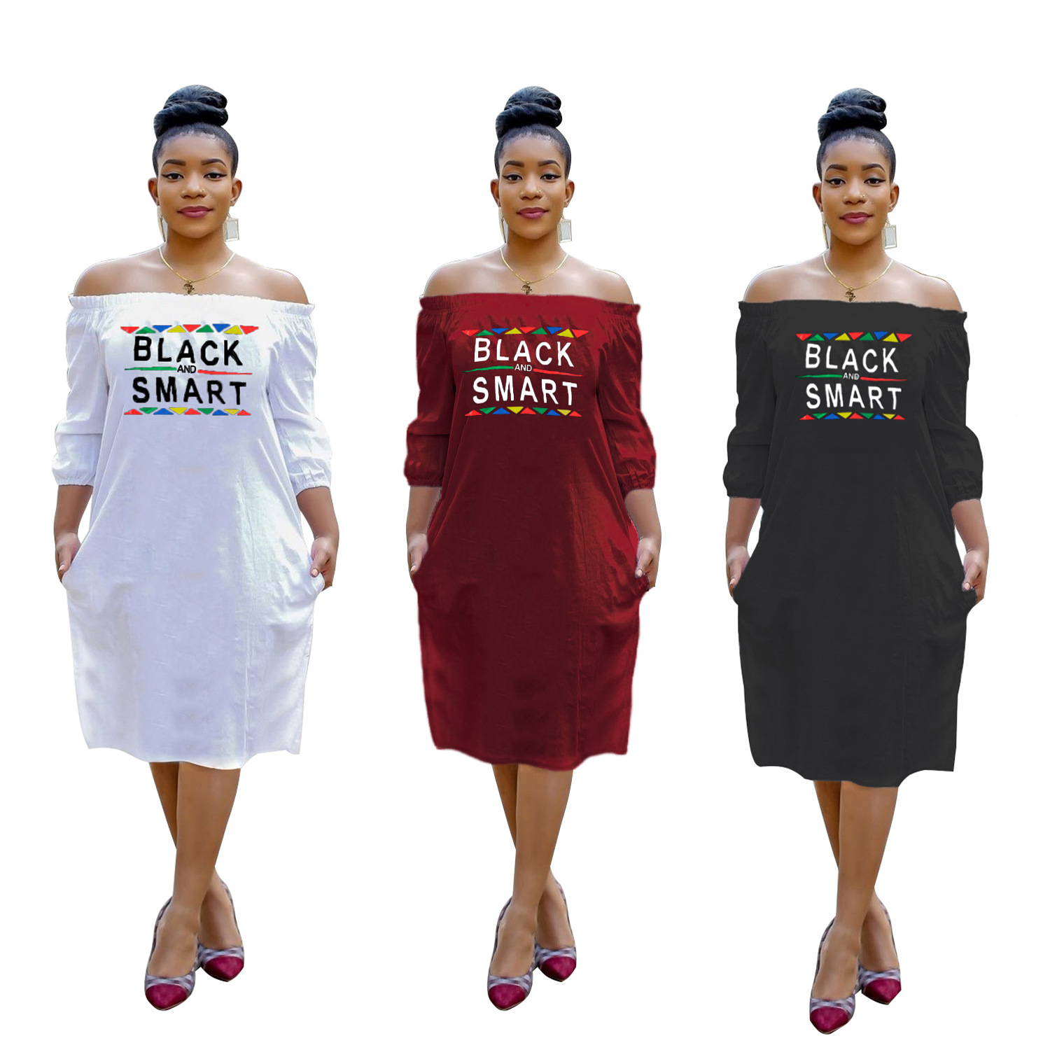 Colorized Letter Print Long Sleeve Slash Collar Loose Personality Women Knee Length Dress Fashion Street Outfits