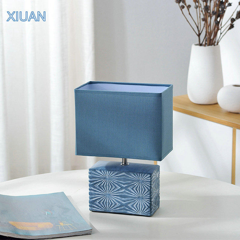 Nordic Modern <font><b>Ceramic</b></font> <font><b>Table</b></font> <font><b>Lamps</b></font> for Bedside Study Lighting E14 <font><b>base</b></font> Fabric shade Remote Control Bedroom Nightstand Desk Light image