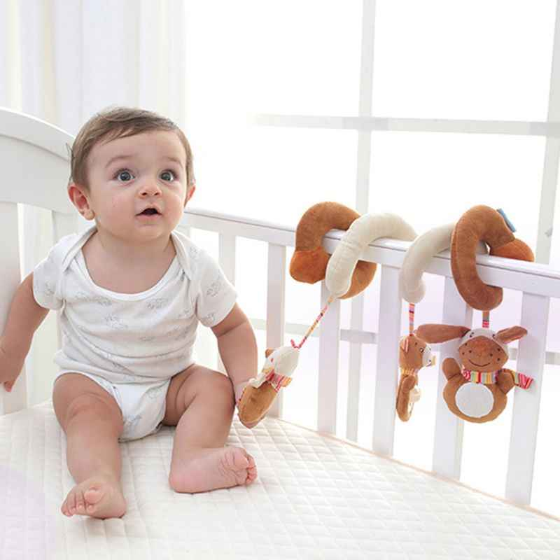 Infant Baby Activity Spiral Plush Toy Bed Crib Stroller Toy Hanging Baby Rattle Toys for Newborn Girls Boys Toddlers