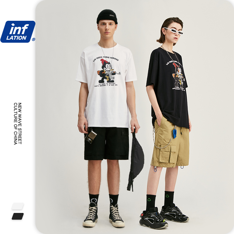 INFLATION Men Tshirt Homme Mens T Shirts Fashion 2020 Trending Men T-shirt Animal Print Short Sleeve Men Cotton T Shirt 1219S20