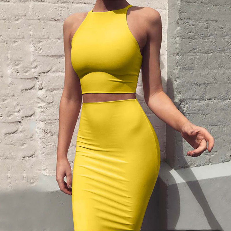 2020 Summer Two Piece Skirt Set Women Sexy Skirt And Top Set Sexy Club Outfits Slim Fit Women Top And Skirt Set Female