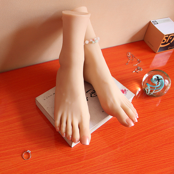 Realistic female Mannequin Dummy feet with skeleton, toes can do fixed movement, foot fetish silicone girl simulation foot model