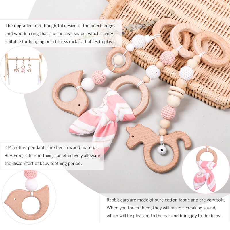 Let's Make 1set Baby Rattle Wooden Teether Bunny Ear Wood Beads Play Gym Wooden Toys Montessori Toy For Baby Activities Toys | Happy Baby Mama