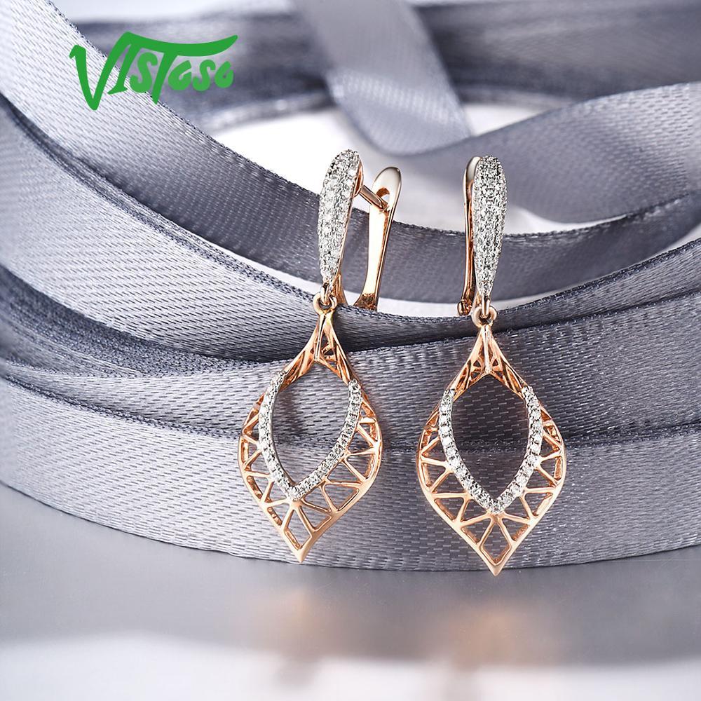 Image 4 - VISTOSO 14K 585 Rose Gold Earrings For Lady Glamorous Elegant Sparkling Diamond Earrings Luxury Wedding Engagement Fine JewelryEarrings   -
