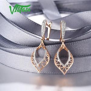 Image 4 - VISTOSO 14K 585 Rose Gold Earrings For Lady Glamorous Elegant Sparkling Diamond Earrings Luxury Wedding Engagement Fine Jewelry
