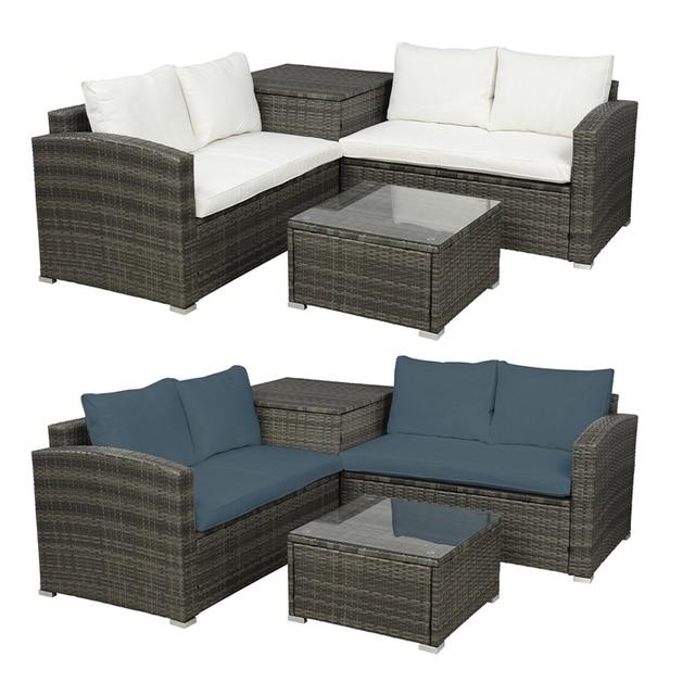 4 PCS Outdoor Cushioned PE Rattan Wicker Sectional Sofa Set 2