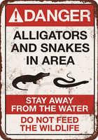 Vintage Home Decor Danger Alligators Bar Decor Vintage Metal Sign Wall Art for Garage Pub Cafe Wall Sticker 20*30 CM