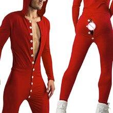 Сексуальный унисекс взрослый пижамы комбинезон однотонный цвет длинный рукав функциональный кнопка клапан V-образный вырез комбинезоны пижамы комбинезон комбинезон q5