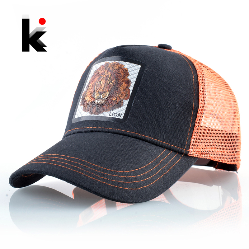 Breathable Mesh Baseball Cap Men Women Fashion Trucker Caps Snapback Hip Hop Baseball Hat With Lion Patck Streetwear Visor Hats
