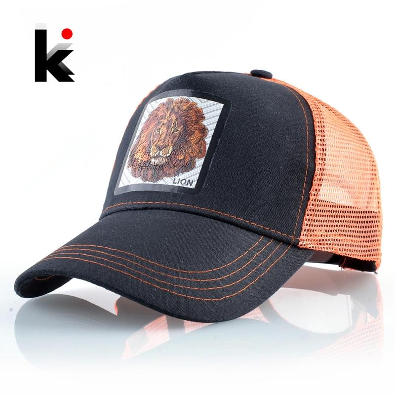Breathable Mesh Baseball Cap Men Women Fashion Trucker Caps Snapback Hip Hop Baseball Hat With Lion Patck Streetwear Visor Hats