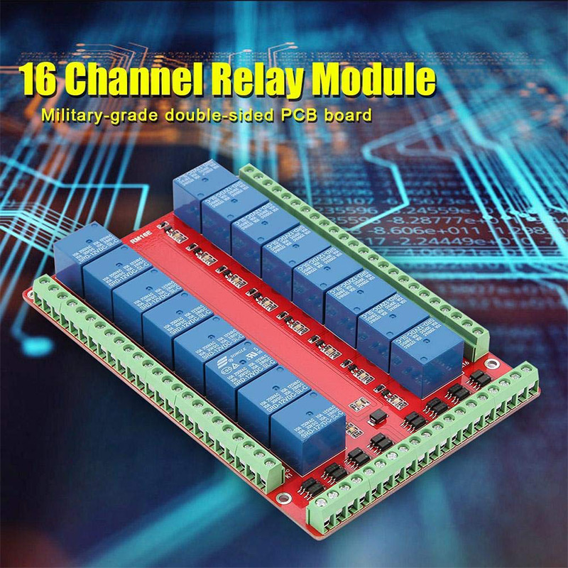 Isolated 16-way Relay Control Module Expanding Module High/Low-level Signal Release 5V 12V 24V Hi 888